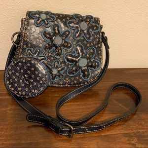 Patricia Nash Denim Daisy Crossbody Bag